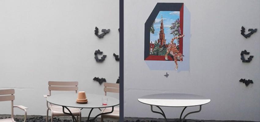 vægmaleri. gavlmaleri, projekter, dekoRum, før og efter, arbejdsmiljø, rumudsmykning, Xenia Michaelsen udendør